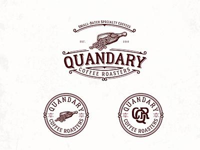 Quandary Coffee Roasters adobe illustrator logo design detail retro classic craft vintage hand drawn illustration rustic drink roaster coffee shop coffee bean coffee