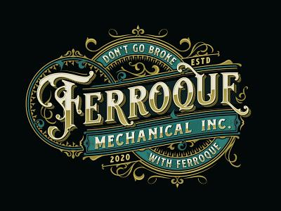 Ferroque Mechanical Inc adobe illustrator luxury sophisticated art nouveau ornament victorian art deco typography vintage elegant construction brand identity logo design