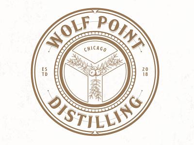Wolf Point Distilling adobe illustrator logo design spirits berries symbol chicago luxury food and drink sophisticated hand drawn elegant classic distilling