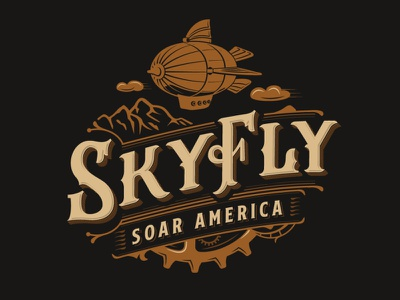 SkyFly logo design victorian gears clouds entertainment wings mountain typography retro classic vintage flying fly blimp airship steampunk