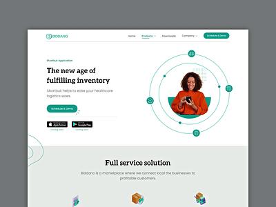 Shortbuk by Biddano startup inventory management software landing page animation website design healthcare design