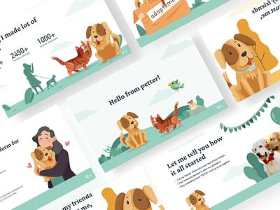 A world for pets - Petter cat dog pets ui flat illustration design