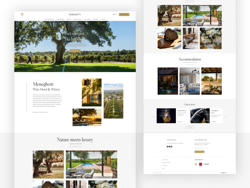 Website For The Luxurious Wine Hotel And Winery experience dinning weddings luxury wine hotel web ui design
