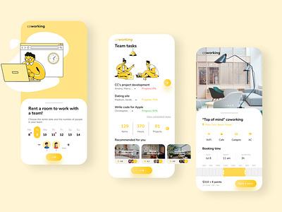 Mobile app coworking illustration rent a room mobile ui mobile app yellow office coworking design uxui