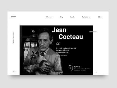 Biography page about Jean Cocteau page webdesign writes minimal uxui design