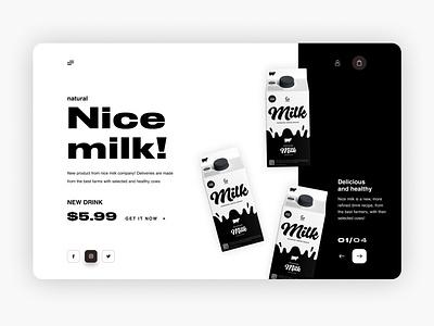 Product page Nice milk! icon typography logo animation figma webdesign minimal illustration uxui design