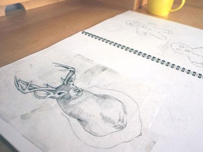 oh deer illustration sketching sketchbook pencil paper deer woods