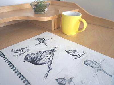 Pretty Bird illustration textiles fashion design fabric design birds nature