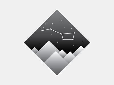 URSA MAJOR night sky nasa logo greyscale