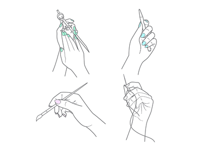 Minimal hands lineart linework minimalism minimal color illustration icons hands