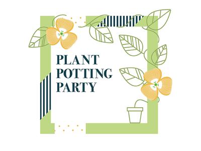 Plant Potting Party Flyer soft color color natural linework plants flyer