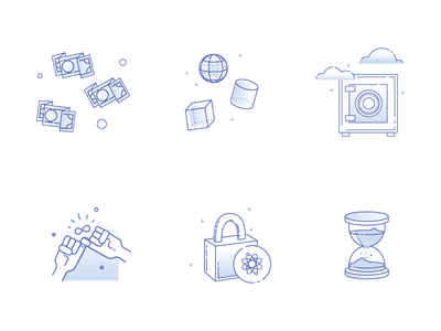 Digital Escrow Icons blue icons promise security