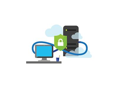 Secure Server security servers azure microsoft icon illustration