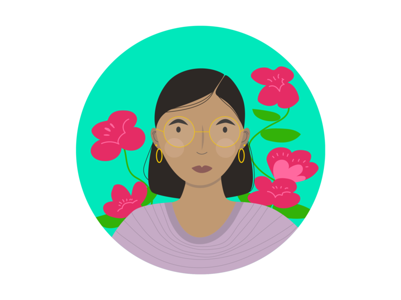 Garden Portrait linework color icon illustration