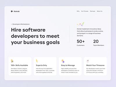Website - homepage uxui ux landing homepage company coding design gradient developers ui