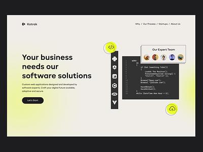 Website - homepage landing page company coding landing homepage gradient design developers ux ui