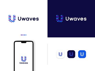 Uwaves - Logo Design simple script modern logo bold u letter logo technology software typography minimal illustration logodesign icon brand identity creative logo graphicdesign branding waves