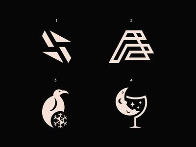 4 Logo Collection logoset glasswine moon snowflake penguin f letter logo s letter logo pattern logos icon minimal modern logo logo design illustration brand identity graphicdesign creative branding