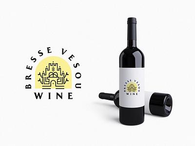 Bresse Vesou Wine web logos symbol leaf design wine label castle wine graphicdesign logodesign vector minimal typography illustration brand identity creative branding