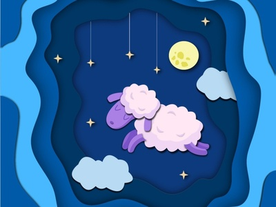 Sleep for sheep vector illustrator illustration