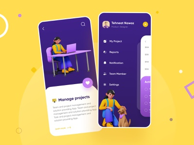 Project Management with 3D characters- UI/UX Design freebie tnudy blue and yellow characters 2d 3d art blue colors dailyui free flat minimal app vector branding ux ui ui ux logo illustration design