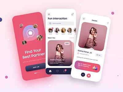 Find your perfect partner - Dating app affair love partner pink datingapp dating date 2d ui mobile app illustration freelance ux free design dailyui app