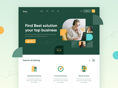 Business Solutions - Landing Page finto categories homepage webdesign webpage website agency solutions business landing page minimal 2d ui illustration freelance ux free design dailyui app