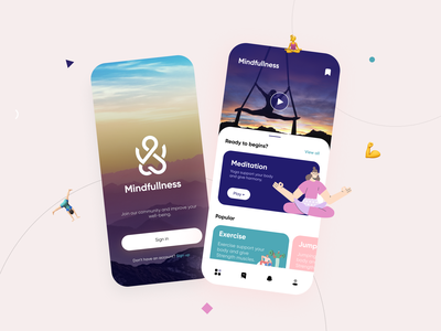 Meditation App UI/UX uxdesign uidesign ux  ui ui app 3d illustration 2d illustration fitness app ui meditation app