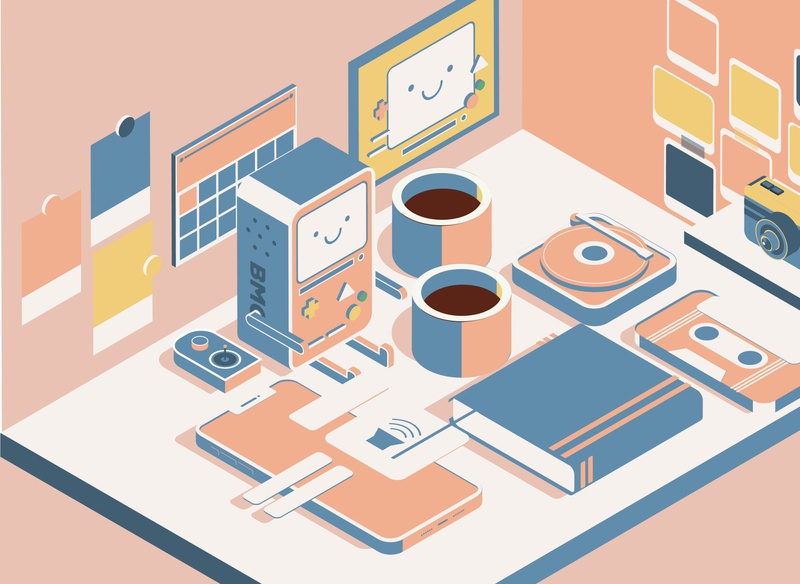 PEACH THEMED WORKING TABLE isometric design digitalart peach illustrator isometric illustration adobe illustrator 3dart vector isometric adventure time bmo