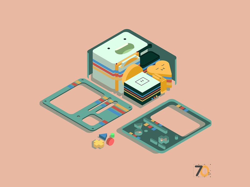 ADVENTURE TIME BMO INSIDE PARTS adventure time 3dart design isometric isometric illustration vector illustrator digitalart bmo adobe illustrator