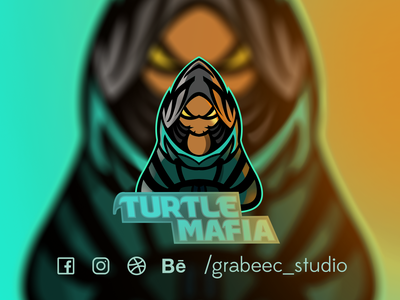 ASSASSIN TURTULE youtube twitch logo illustraion logo mascot esports logo