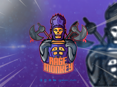 Rage Monkey mascot logo illustration design youtube esports logo esportlogo twitch logo logo design mascot logo