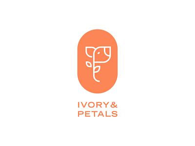 Ivory & Petals Logo elephant flower logo