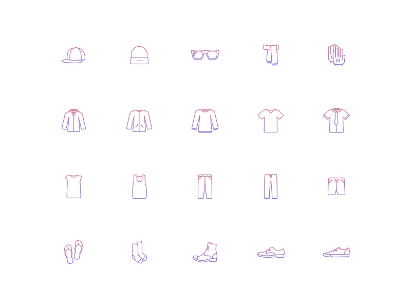 Velovane - Iconography outfit stroke line icons cap flip flops gradient boots shirt sunglasses shoes clothes