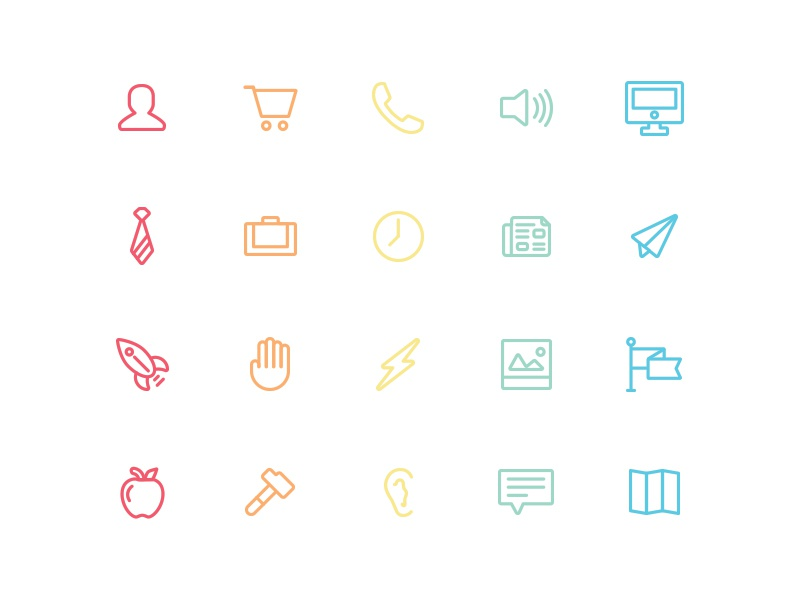 Sophia - Icons Sneak Preview paper plane shopping cart tie lightning bolt apple ear newspaper flag hammer rocket icons iconography