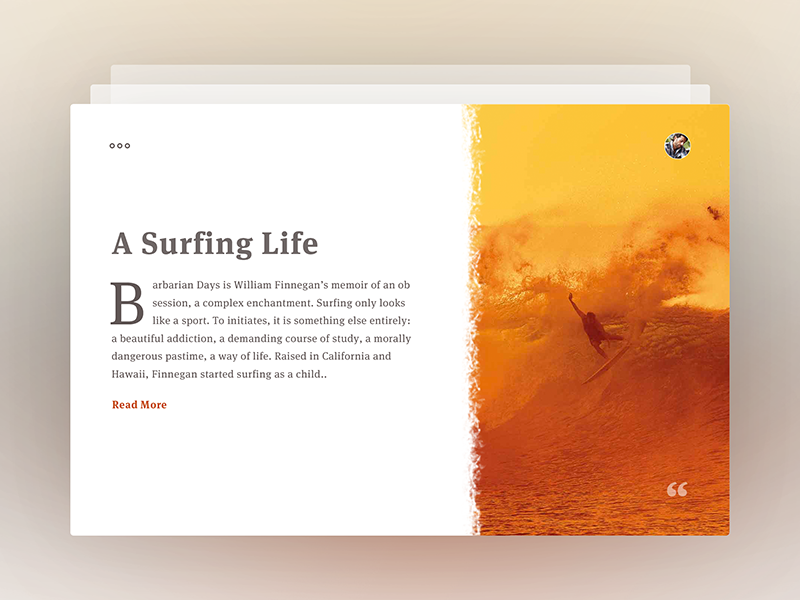 Article - A Surfing Life serif headline quotes typeface serif font journal brush surfing typography card blog article