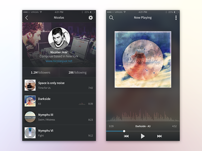 iOS - Music App ios 10 graph icon transparency sound audio player music interface gradient dark app