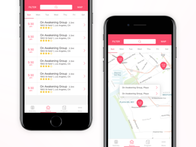 iOS - Pink Cloud App tracking meetings iphone filter map view list view addiction alcohol counter sobriety app