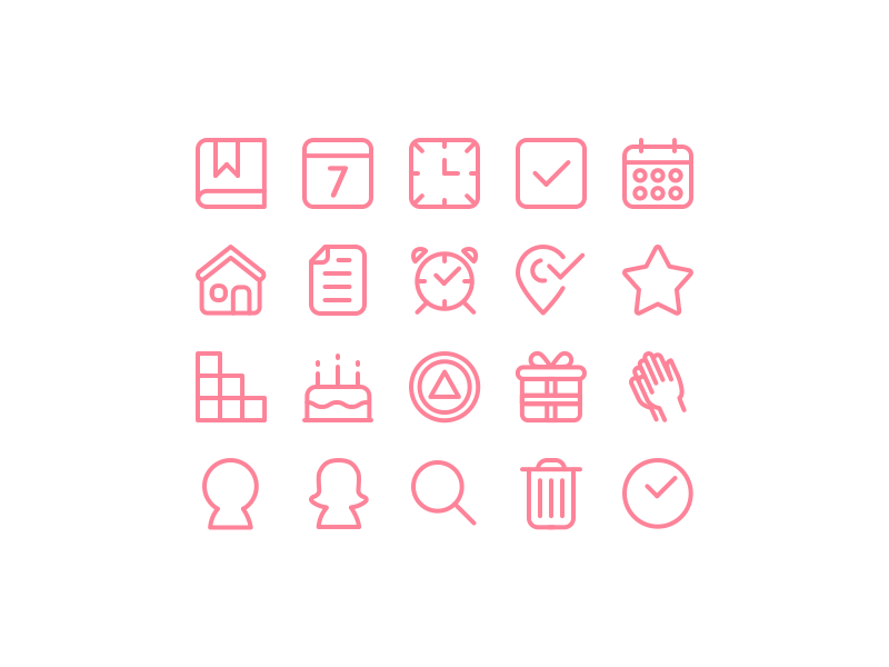 Pink Cloud - Iconography stroke set line anniversary pink rooms meeting prayer calendar aa ios iconography