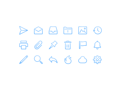 Mail - Iconography gradient sidebar email icon set folder history macos flag pinned cloud fire mail