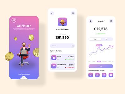 Go Fintech App Concept graphic design finance app money analytics bitcoin crypto paymentapp ux ui business uiuxdesign fintech finance payment uiux mobile branding illustraion uidesign design