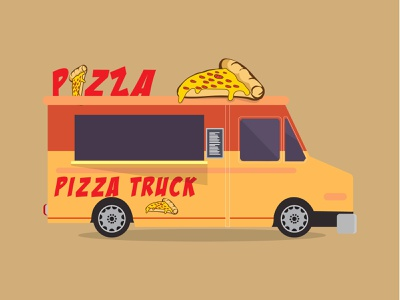 Pizza Truck - Food Truck Illustration food app food illustration logo branding vector design illustration