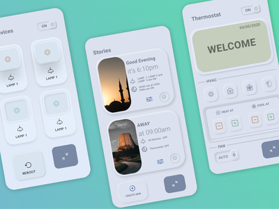 Thermostat app UI design thermostat flat design ui app