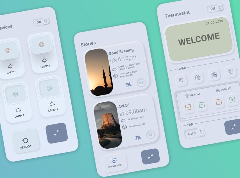 Thermostat app UI design thermostat flat design ui app