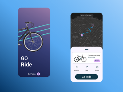 Go Ride App bike app ui design ridesharing figma mobile app app design sports app