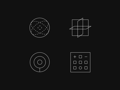 Conceptual icons internet branding iconography calculator circles planes orbit intersection center hourglass black hole radar iconset icons