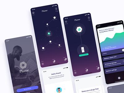 HomePass app design gradient network sign up log in motion ui plume homepass app