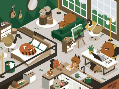 Cozy color architecture character design food isometric illustration isometric perspective animal character illustration cute
