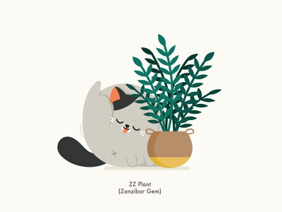 Cat x Plant color illustrator cat animal character happy vector illustration cute