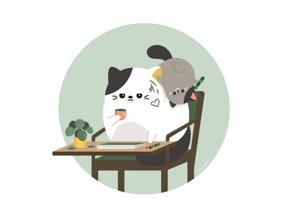 Working From Home green wfh illustrator character design animal character vector illustration cute
